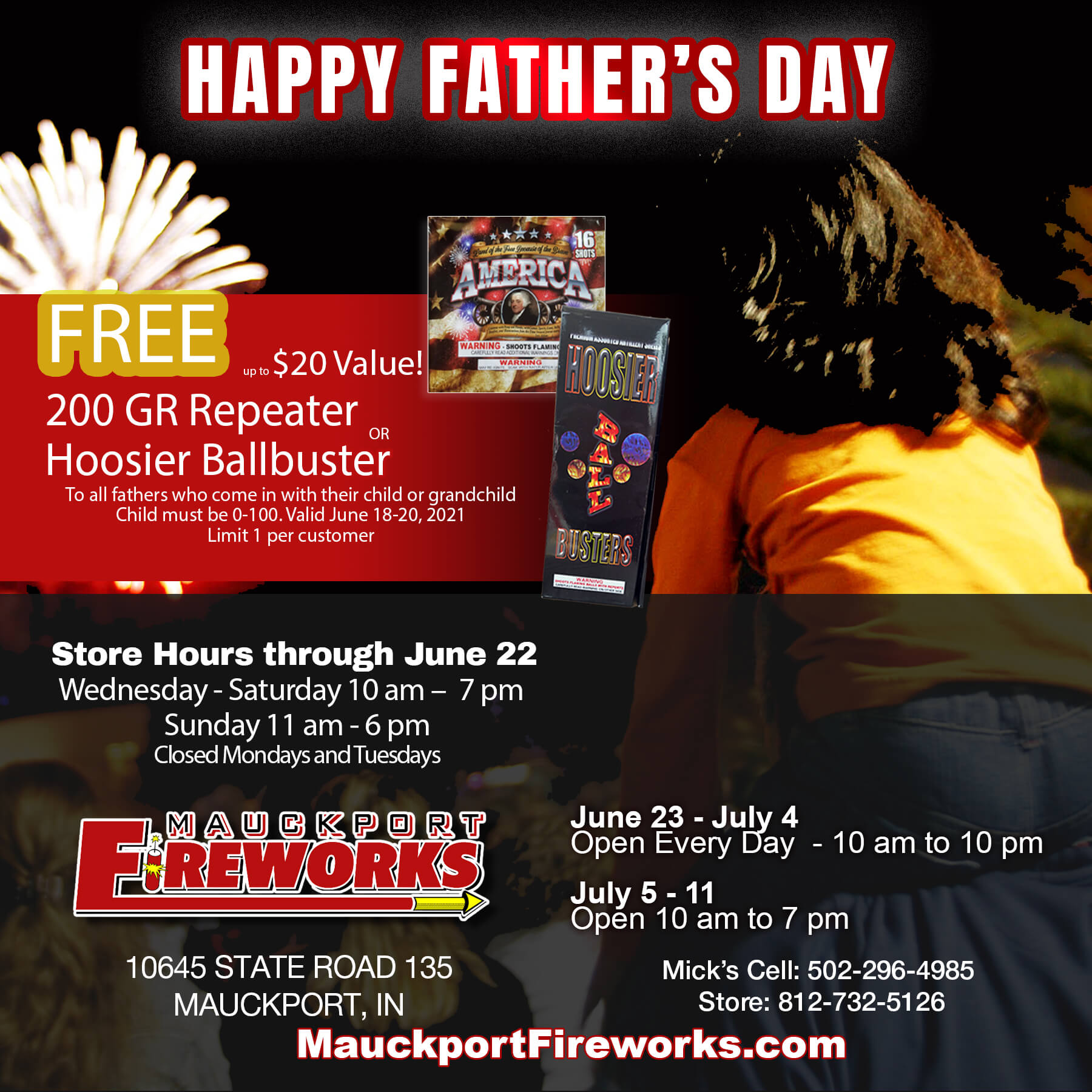 Free Father's Day Fireworks at Mauckport Fireworks